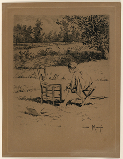 """Landscape with a seated boy admiring a painting on a stool, in foreground. In middle distance, a river and a tree, right. trees also in far distance. Inscribed, lower right: """"Louis Monzies""""."""