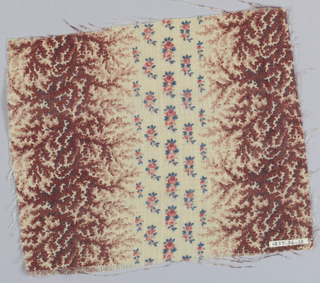 Cream coloured ground with broad vertical stripes of closely massed slender foliate design in browns and black, alternating with tiny rose buds in pink and blue.
