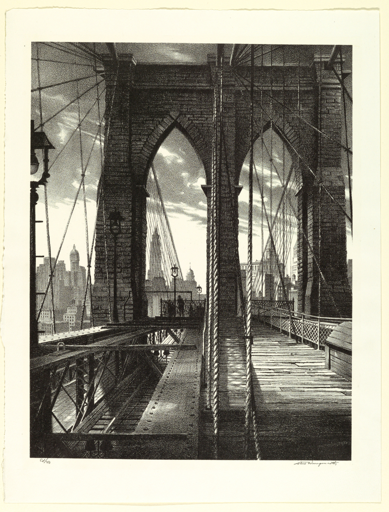 Pedestrian pathways and rail tracks run through the lower-right and lower-left of the composition, while the twin Gothic arches of the Brooklyn Bridge (1869-1883) tower loom up in the foreground. The bridge's cable arrangement forms a distinctive weblike pattern. The skyscrapers of Lower Manhattan can be seen in the background.  From left to right: Singer Building (built in 1908, demolished in 1968), Woolworth Building (1913), World Building (built in 1890, demolished in 1955), Municipal Building (1914), and the Thurgood Marshall U.S. Courthouse (1933).