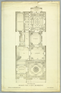 Detailed first floor plan, design for a city residence.  Aug. Canziani