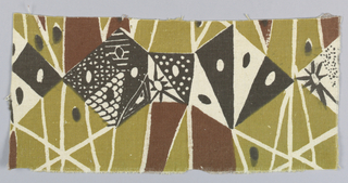 Design with floral and geometric elements, in brown on white with reserved details.