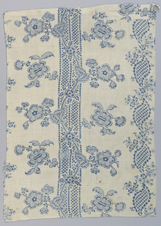 Fragment printed in blue on white in a design of a stripe with a flowering vine.