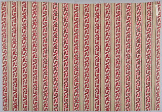 Sample in a striped design showing light brown stripes edged with dark red dots that alternate with white stripes decorated with a fret design.