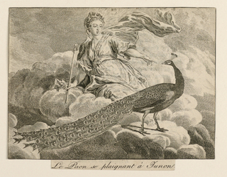 Horizontal rectangle. Scene from La Fontaine's fable, showing Juno seated on a bank of clouds, hand out-stretched toward a peacock.