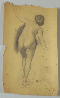 Full figure of bending female nude, shown from back. Figure standing on right leg, left knee slightly bent; arms extended, left toward top, right toward right of page.