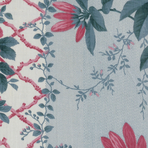 Two broad stripes, molette printed in blue in minute dot patterns, are separated by a narrower stripe consisting of a pink lattice pattern and small pink and green floral sprays on a white ground. Over-printed on the blue molette ground are natural scale, realistic azalea blossoms and foliage in pink and green.