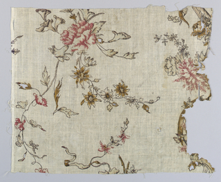 Fragment with a design of a flower spray, a rose, foliage and smaller blossoms. Colors, now much faded, were red, violet, brown and mauve. Heavily starched.