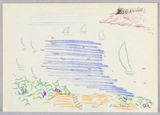 Drawing, Sailboats at Rockport