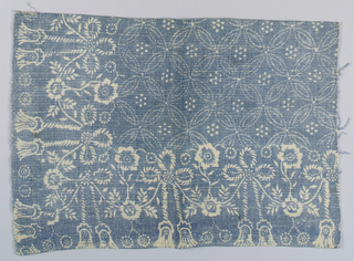 Corner of a table cover. Border design of tassels alternate with flowers, field of intersecting circles.