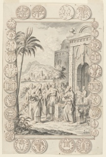 A group of robed figures congregates in the center of the picture. One female figure stares directly at a man across from her, who is standing next to a dog and holds a round object. The figures are framed by a tree on the left and a building on the right. The frame is attached to numerous coins, which are marked with a variety of letters, symbols, and other imagery.