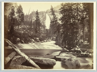 View of body of water, trees in middle ground, and waterfall between cliffs in distance. In foreground, rocks and wooden log.
