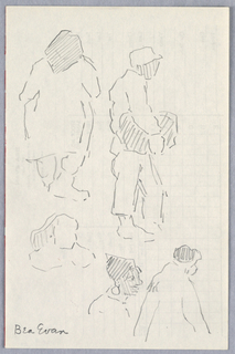Various sketches of people in the park. Grid partially indicated.