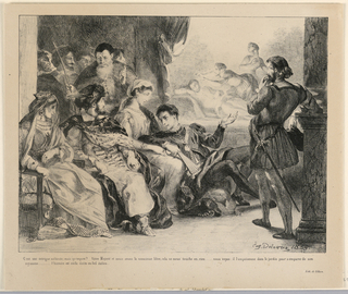 Print, Illustration for Hamlet: The Players Represent the Death of Hamlet's Father (III,2)