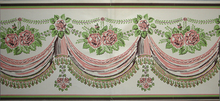 "On white ground simulating woven fabric with sheen. Pink, brown and green roses over draped swags with tasseled fringe. Components a and b are the same and the two pieces are joined together. Printed on back: ""Scalamandre Wallpaper, Inc./ Hand Print/ Pattern no. BD260-4/ Drapery swag with roses/ Repeat 11 1/4 inches/ Depth 13 1/4 inches/ Printed on ground No. wp 1801""."