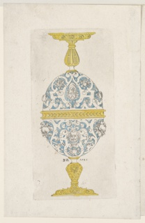 Design for a metalwork double goblet featuring two symmetrical halves forming an egg-shaped body.  Each half features strapwork arabesques with a bearded mask at the center and clusters of fruit at left and right.
