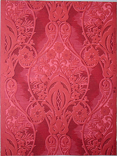 A symmetrical large-scaled design, the central motif of which is a continuous repeat. A stylized balanced spray of flowers and foliage is centered in a medallion of curving lines from which spring scrolls ending in rosettes of flowers. The entire background is printed in narrow, parallel horizontal lines which shade from light to dark. Printed in shades of pink and red on red ingrain paper.