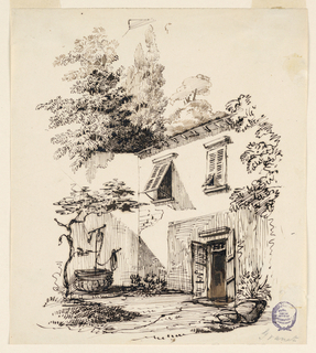 At right is the house, at left is a garden wall, with a well in front of it. Probably a house in Provençe.
