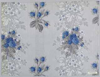 """Three samples, same design, different colors. A) Grey ground, probably printed by """"Molette,"""" in minute geometric patterns with areas of foliage in grey, with white flowers; floral pattern of rose clusters printed over ground, probably by block. B) Green ground, roses red-violet. C) Grey ground, flowers blue with grey foliage. Highly glazed"""