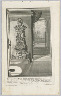 Plate 2. Design for a large, free standing case clock, with Gorgon head supported by two cornucopias on face and is surmounted by fasces and arrows. A helmet tops the piece. Clock is set to left, illuminated by a candle, and a window opens onto a terrace at right.