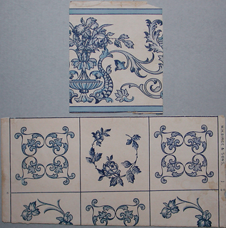 a) Simulates Dutch tile. Consists of two designs. One is a symmetrical design divided into four equal parts of blue scrolls, portions in powdered mica on ivory field. The second tile design is a circular spray of roses, partially printed in blue mica on ivory field; b) A border which simulates tile. This is a Renaissance design. Printed partially in blue mica on ivory.