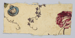 Small rectangular fragment in off-white with a trailing vine, morning glory and rose in red, blue, purple and black.