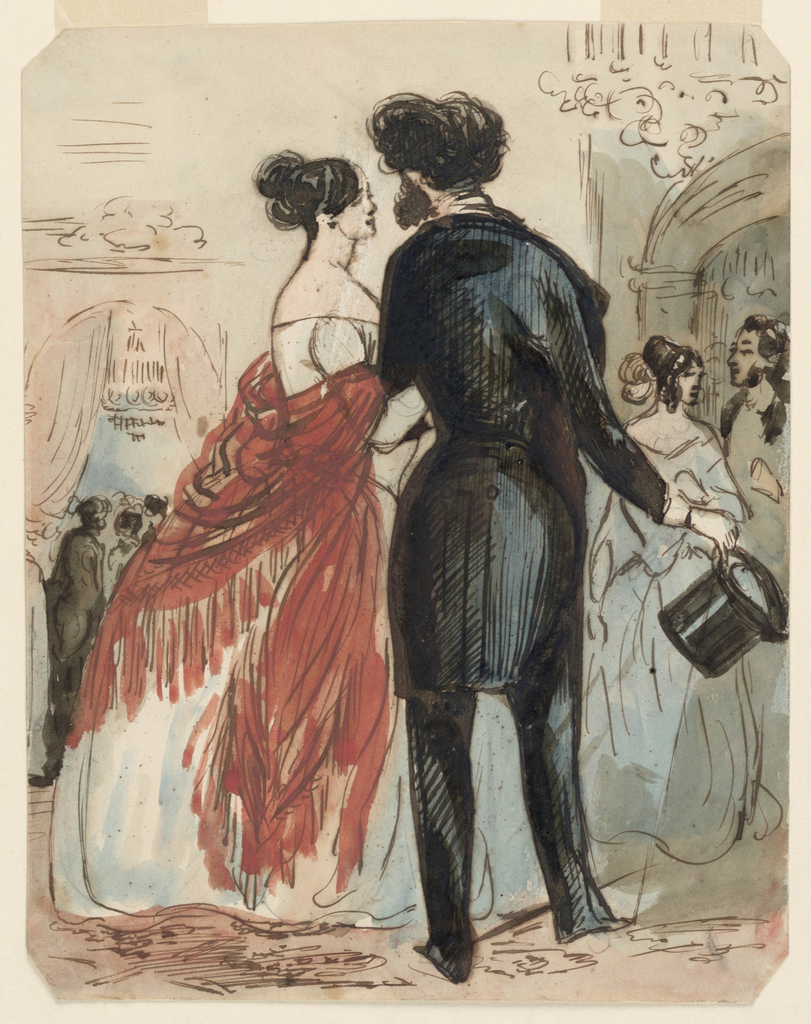 Vertical rectangle, bevelled corners. Figure of a woman in a low-necked white evening dress and a red shawl with long fringe, on the arm of a man who is holding his high hat in the right hand. Both seen in side back view. In background, groups of figures in conversation, two chandeliers and arched doorways with curtains.
