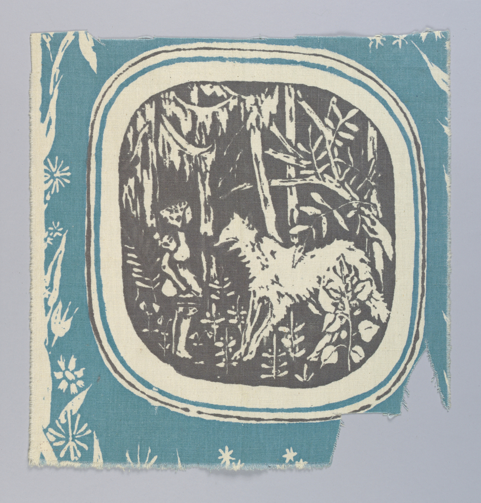 Single repeat of a large medallion with a child meeting a wolf in the woods, reserved in gray on a turquoise ground wtih delicate woodland flowers and leaves in reserve.