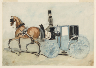 Horizontal rectangle. A blue brougham drawn by a chestnut-brown horse wearing a black harness with silver mountings. Coachman driving the carriage in black livery; gray-blue background.