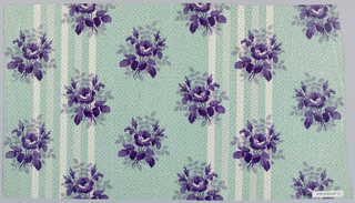 "Two pieces with same ground, different floral pattern. A) Ground green in striped effect, broad band, narrower white and pale green, probably by ""molette."" Flower clusters in violet printed over ground. B) Same ground, smaller flower clusters in violet. Glazed."