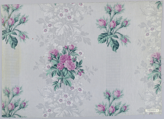 "Three samples, same design, different colors. A) Grey ground, probably printed by ""Molette,"" in minute geometric patterns with areas of foliage in grey, with white flowers; floral pattern of rose clusters printed over ground, probably by block. B) Green ground, roses red-violet. C) Grey ground, flowers blue with grey foliage. Highly glazed"