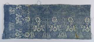 Border design of tassels and flowers. Design turns a corner. In white on blue. The piece may be a fragment of a table cover.
