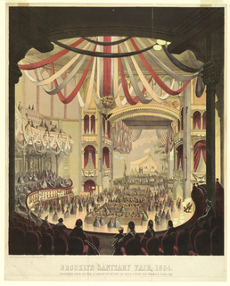 """Vertical format. Exhibition tables in the parquet, and what appears to be a fashion show on the stage.  Ceiling of the theater decorated with long draped ribbons. Below: """"Brooklyn Sanitary Fair, 1864 / Interior View of the Academy of Music, as Seen from the Dress Circle"""".  (Plate from 'History of the Brooklyn and Long Island Fair, February 22, 1864, p. 32.)"""