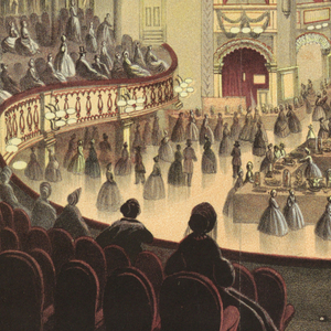 "Vertical format. Exhibition tables in the parquet, and what appears to be a fashion show on the stage.  Ceiling of the theater decorated with long draped ribbons. Below: ""Brooklyn Sanitary Fair, 1864 / Interior View of the Academy of Music, as Seen from the Dress Circle"".  (Plate from 'History of the Brooklyn and Long Island Fair, February 22, 1864, p. 32.)"