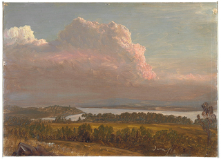 Horizontal view from Church's home, Olana, looking across the hilly, wooded landscape and a lake towards a range of hills, under a cloudy sky reddened by the setting sun.