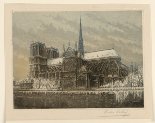 Print, View of Notre Dame in the Snow