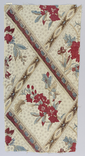 Diagonal bands with fret and leaf patterns create diamond shapes that are filled with floral bouquets. Background of small circles with a stipple pattern. Predominantly in shades of red, blue, mauve, brown and black.