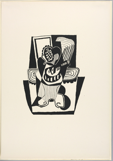 Vertical rectangle. Cubistic composition sohwing a banjo and other objects on a table. Number 24 of a limited edition of 99, hand-printed by George Lockwood from the original woodblock designed by Picasso and cut by Georges Aubert for the publisher Ambroise Vollard.