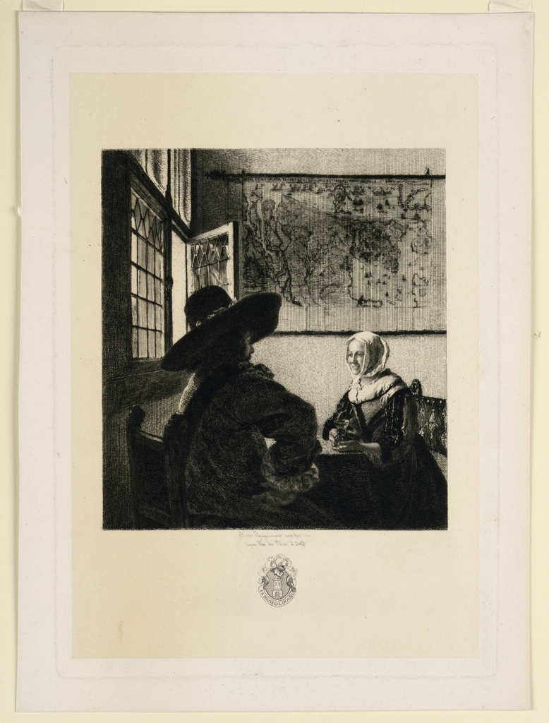 A man, seated with his back to the spectator, converses with a seated woman, holding a wineglass on a table, near a window. A map hangs on the wall in the background.