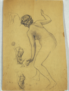 Bending female nude shown from rear. Three small sketches on left side of page, depicting same pose draped. Figure bent from waist forward; right arm bent and raised; left arm extended downward.