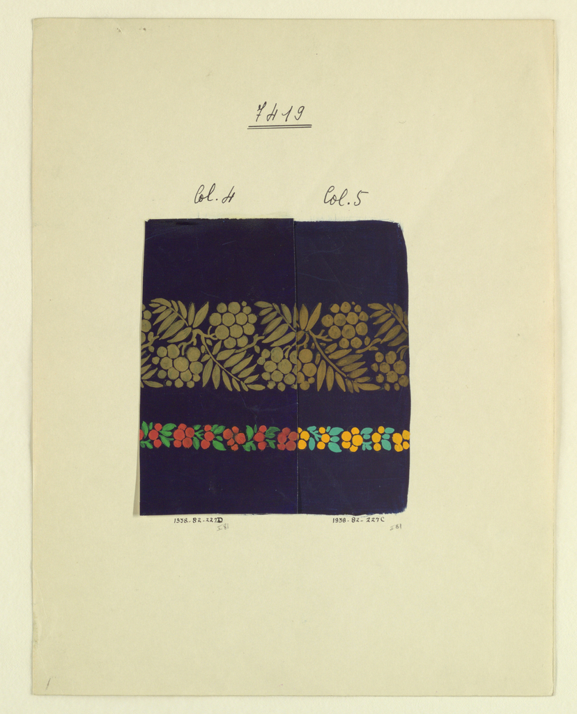 Drawing, Wide gold band of berries, 1925
