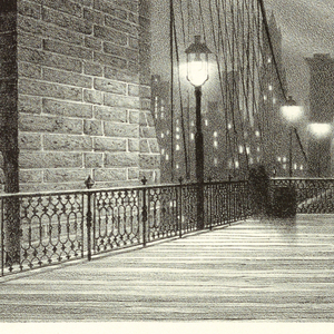 Horizontal rectangle.  View of the bridge (Brooklyn Bridge) at night.  Spectator's view is taken on the bridge, looking toward the city skyline (Lower Manhattan).