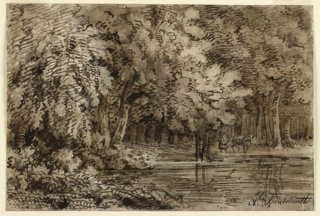 Woodland scene with animals drinking from a pond.