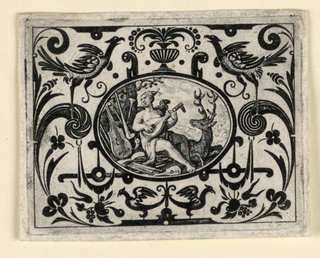 Horizontal oval within horizontal rectangle. In an animal-grotesque field the medallion depicts a seat woman playing a lute in a landscape.