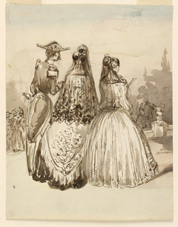 Vertical rectangle. A male officer in dress uniform at left with a Spanish noblewoman and her lady-in-waiting. The noblewoman is wearing a black lace mantilla. All figures viewed from back. Additional groups of figures in the background, steps from a terrace lead to a garden.