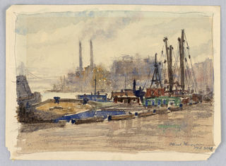 Drawing, East River, Looking South, 1947