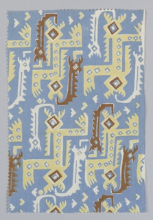 Fragment showing a stylized serpent pattern in blue, yellow and brown. Design inspired by motifs found on the textiles of mummy bundles from the Bolivian Andes.