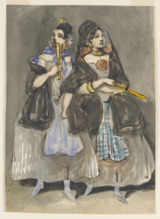 Vertical rectangle. Two Spanish women promenading, both wearing gray skirts, blue aprons, black scarves, gold jewelry and holding fans with gold-colored sticks. Woman on left wears bright blue scarf and apron; woman on right wears a plaid apron.