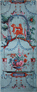 Medallion of large shallow bowl, with three feet and link handles, filled with flowers, alternates with scene of woman under an arched lattice playing with a cupid. Framework of ribbon festoons, garlands and scrolls. Printed in reds, greens and blues on a pale blue field. Vertical rectangle.
