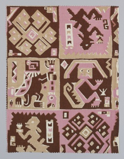 Fragment showing a design comprised of four blocks, three based on a human figure, and one with an interlacing design, in pink, tan and brown. Design inspired by motifs found on the textiles of mummy bundles from the Bolivian Andes.