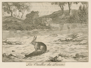 Horizontal rectangle. Scene from La Fontaine's fable, showing a rabbit seated near a stream looking at his shadow.